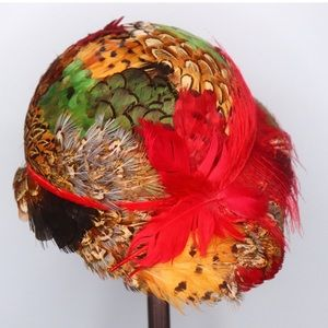 Colorful Vintage 1950's Feathered Hat